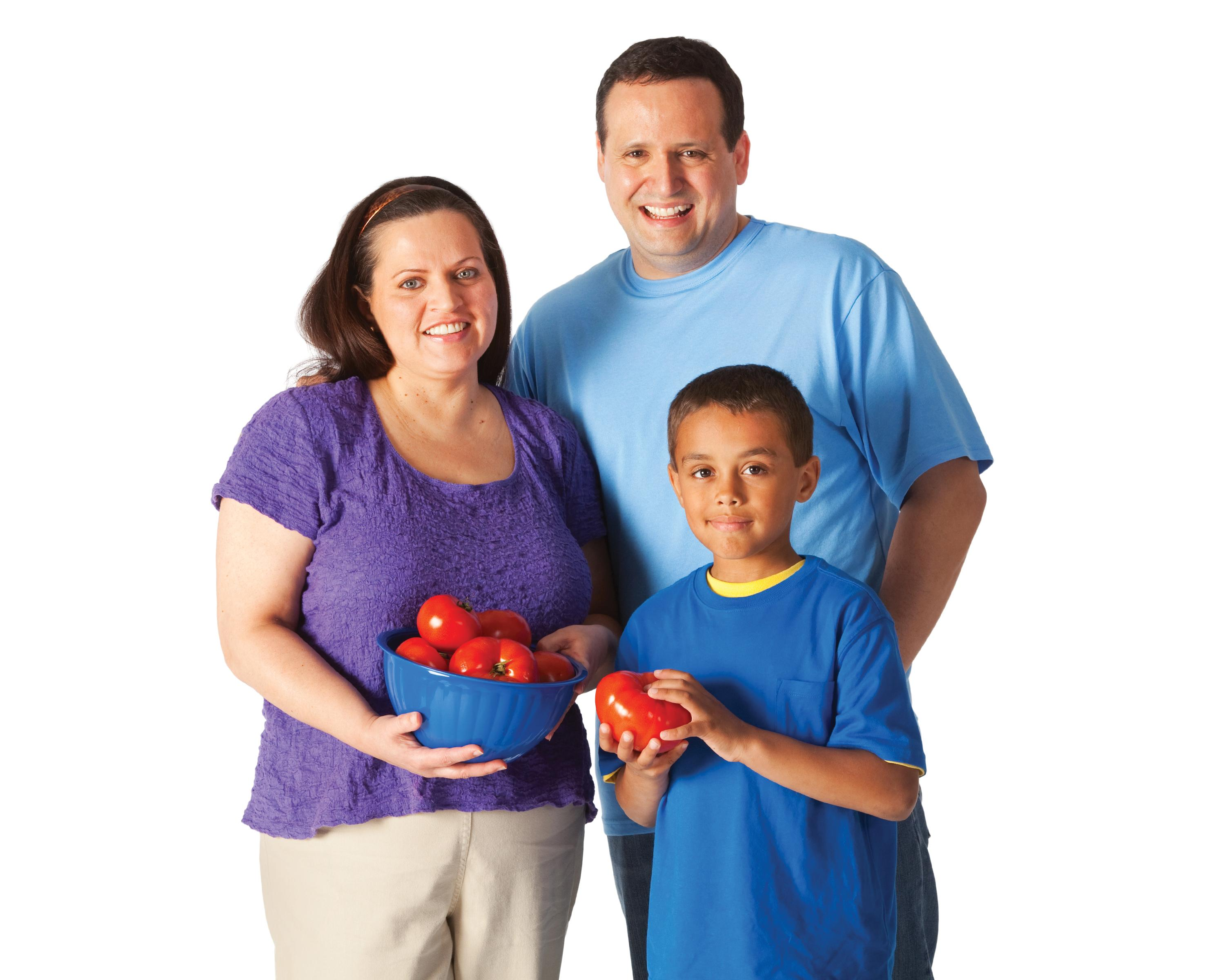 Boy with Parents Holding Fruit