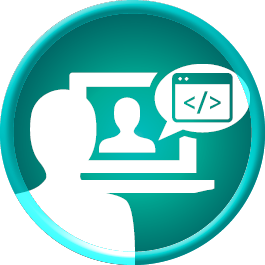 Icon showing a person connecting virtual for coding program