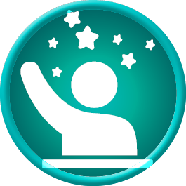 Icon showing a person raising their hand with stars above.