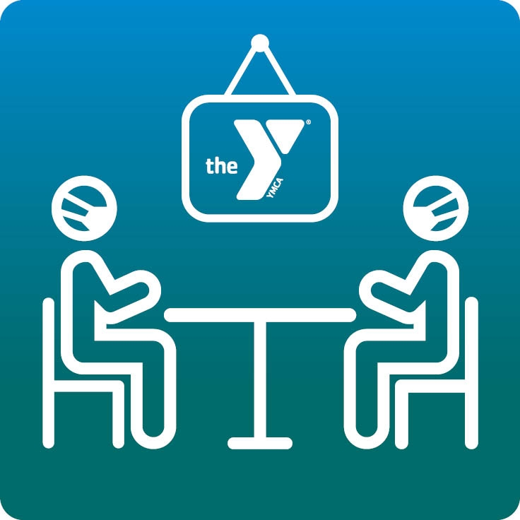 Icon of in-person counseling at the Y with masks on.