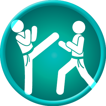 Icon showing two teens practicing tae kwon do