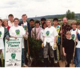 Group of teens at a green work party