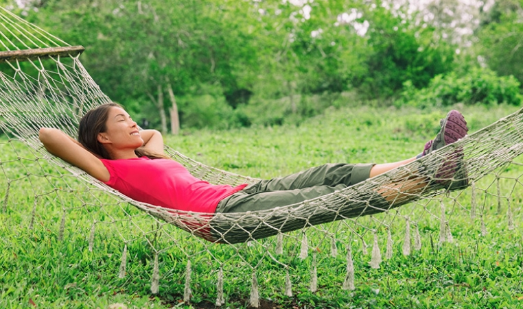 lady in hammock relaxing
