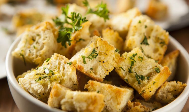 Croutons in a bowl with parsley