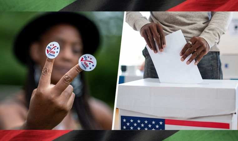 Images of African Americans advocating to vote.