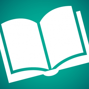 Book icon on dark green background