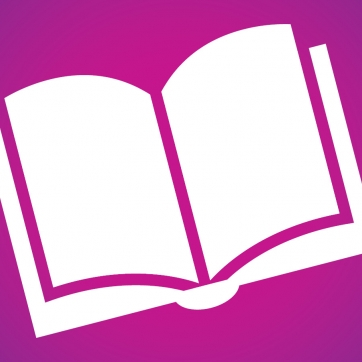 Book icon on purple background