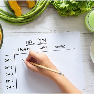 A hand with a pencil working on a meal plan surrounded by healthy foods