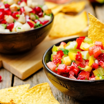 Bowl of Pear Mango Salsa with Tortilla Chips