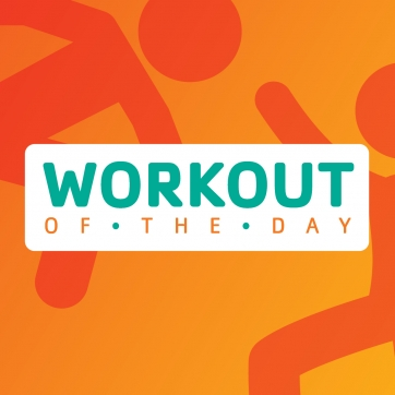 Orange people icon showing the workout of the day.
