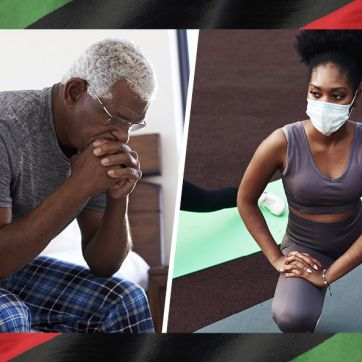 African American Senior Man looking distressed and Young Woman exercising.