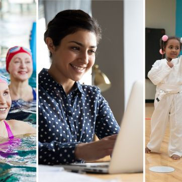 Triptych of three scenes: two women in a water group exercise class, a woman attending a virtual event from her laptop, and children in a Tae Kwon Do class.