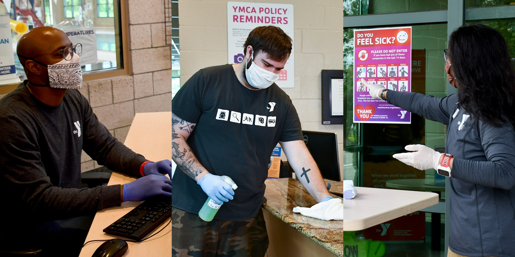 Staff wearing mask and gloves while helping members and cleaning surfaces.