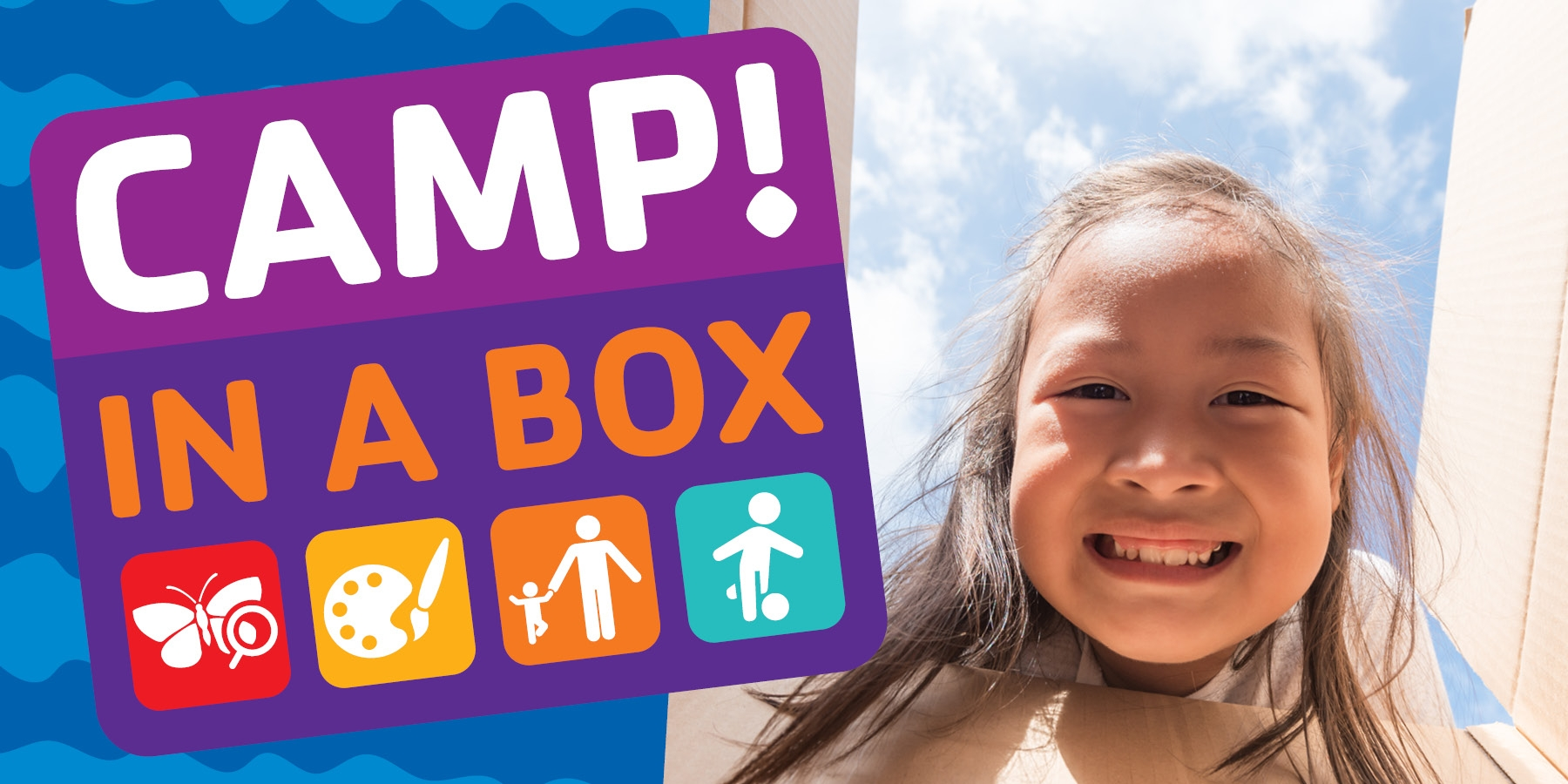 A girl looking into a box with a big smile, plus a logo for the Camp in a Box program.