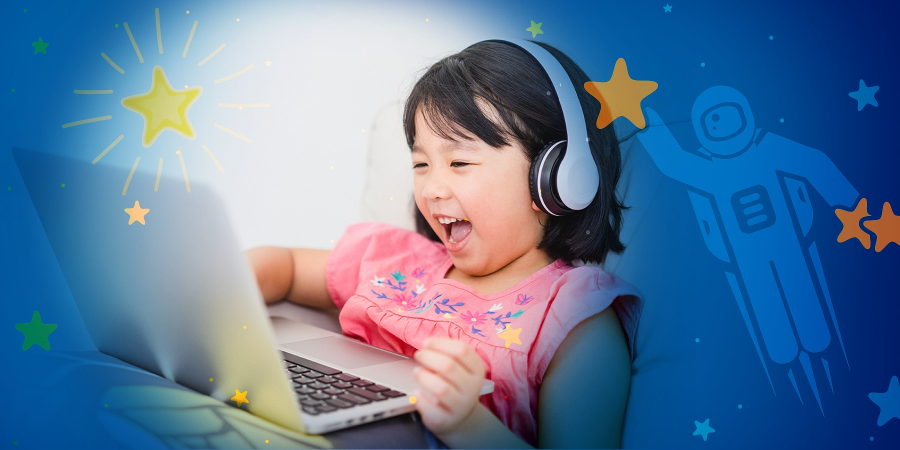 Girl watching her laptop with graphic elements including stars and an astronaut surround her.