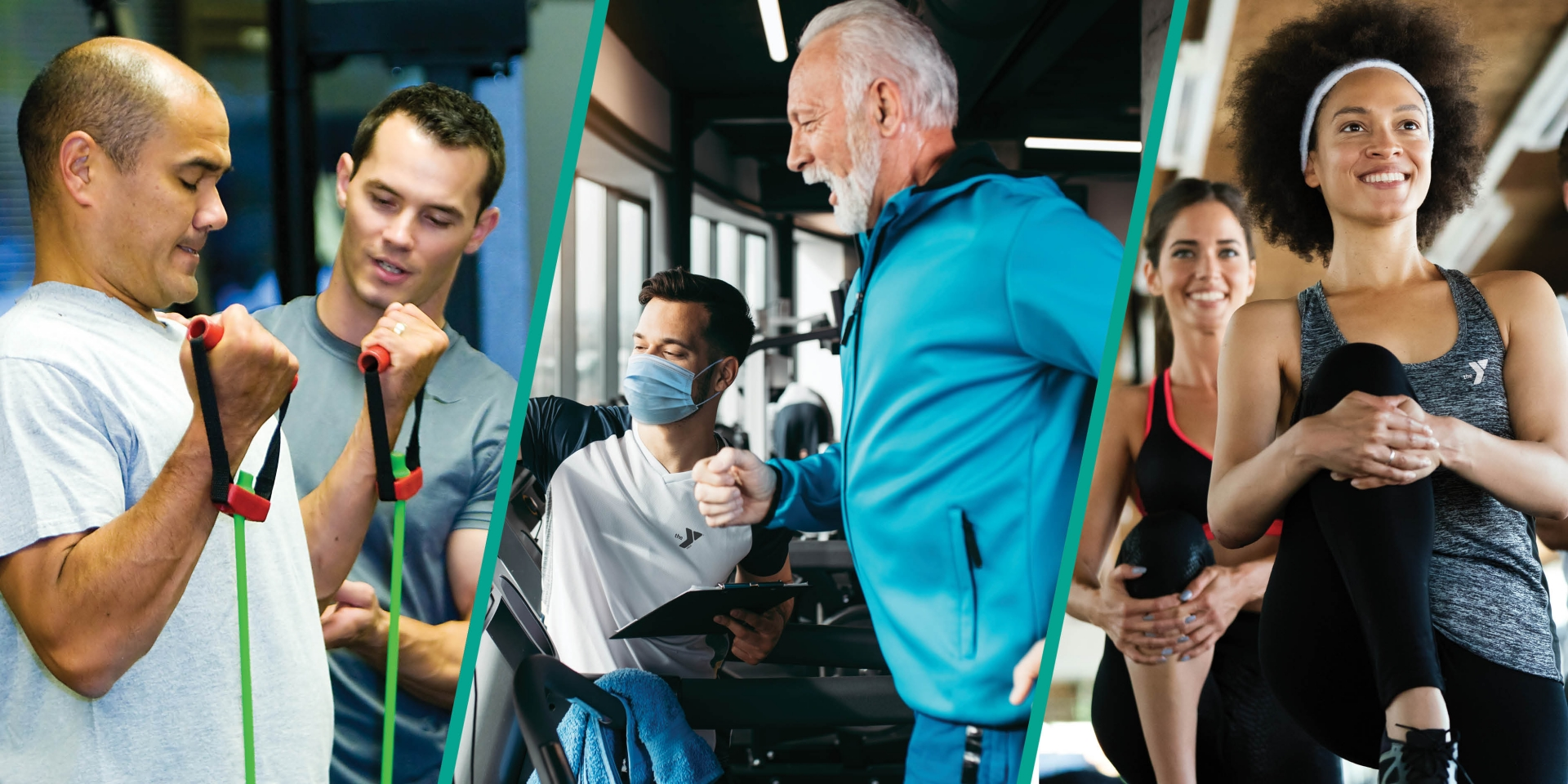 A trio of images representing personal training; a middle-aged man using bands to build biceps, a senior man running on the treadmill, and a pair of millenials stretching.