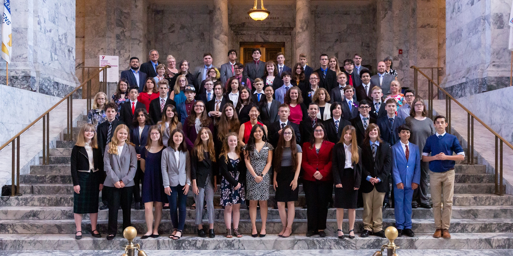 Group of middle and high school students on the capitol steps