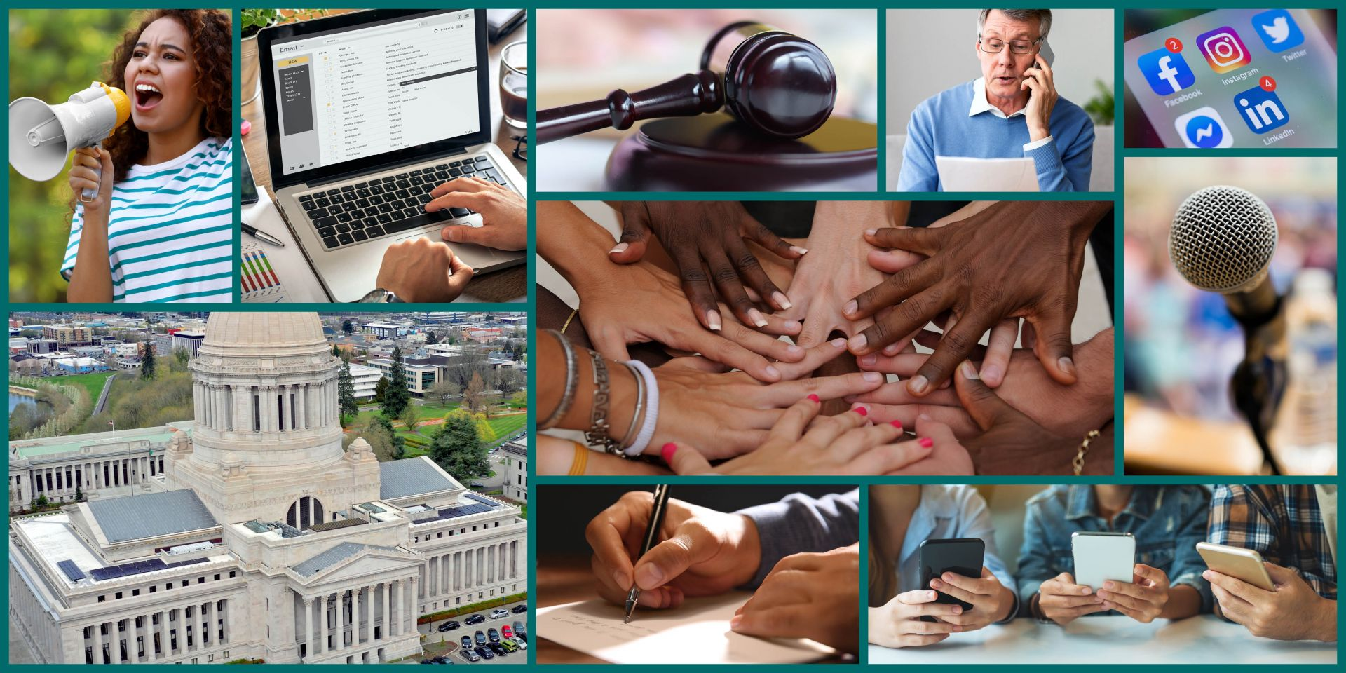 Collage of images representing outreach and advocacy.
