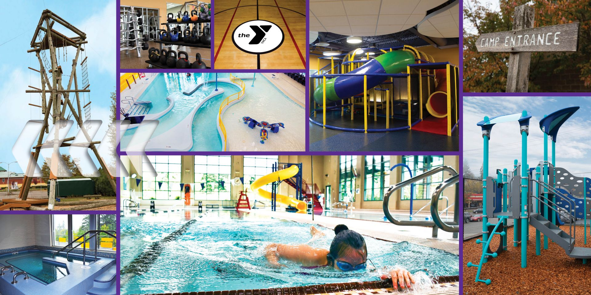 Collage of images of branch amenities.