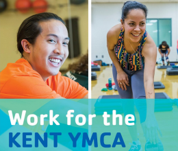 A man and woman working for the Y with text that reads Work for the Kent YMCA.