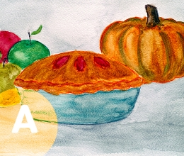 Painting of a pumpkin, pie and apples.