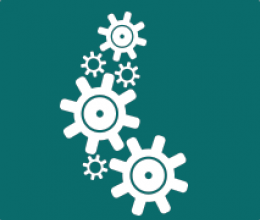 gears icon, dark green background