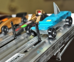 Pinewood derby cars ready to race